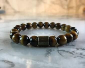 Tiger Eye Bead Bracelet, Gemstone Jewellery, Stretch Bracelet