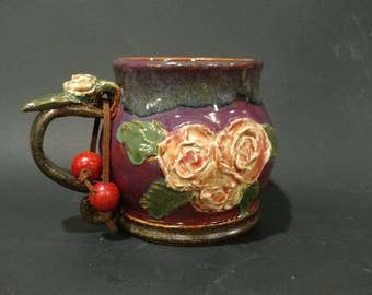 Sculptured Roses Handcrafted Wheel Thrown Stoneware Pottery Mug