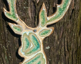 Fused Glass Handmade Ceramic Hanging Stags Head (Large)