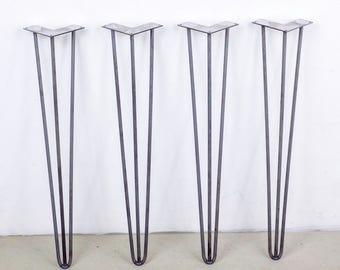 4 x 72 Hairpin Legs Raw Steel or Silver Steel