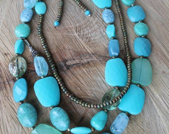 Multi-Layered Turquoise Beaded Necklace