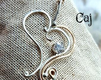 Artisan Heart Pendant in Silver, Gold, Cz