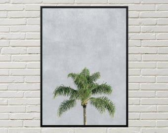 PALM TREE print, palm tree decor beach wall art, tropical wall decor beach house art, palm tree digital download, tropical art palm tree art