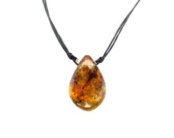 amber necklace / bright yellow rich brown texture / drop shape / mexican amber