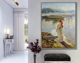 """Figurative Painting, People Painting, Girl by Sea, 24x36""""/60x90cm Oil Painting"""