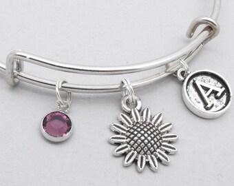 Sunflower vintage style initial bracelet | sunflower bangle | personalised sunflower bracelet | sunflower jewelry | sunflower gift