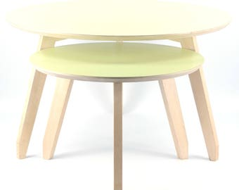 Set nest of Danish coffee tables by Unikasnedkeriet. Beech & laminate. Nordic Chic