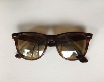 70s B&L WAYFARER II > Vintage Ray Ban > B-15 Mirror Lens > Tortoise - Made in USA > Retro Sunglasses > Bausch Lomb > Womens Mens Accessories