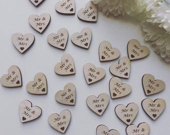 Wedding Table Confetti Wooden Heart Mr & Mrs Scatter