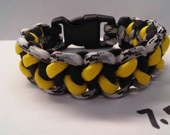 7.5 inch 3 color Paracord Survival Bracelet - Yellow, Black, White/Gray Camo