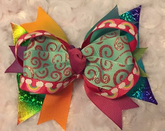 Rainbow Stacked Boutique Bow