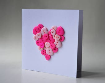 Heart button greeting card with envelope 5x5