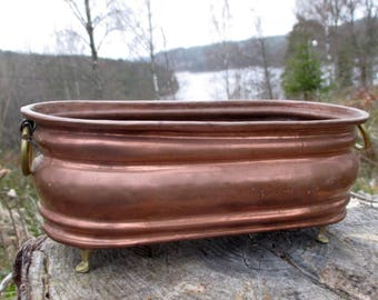 Oblong Copper flowerpot. Copper. Scandinavian Copper. Vintage Flower Pot