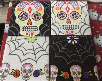 Set of 4 Sugar Skull Tile Coasters
