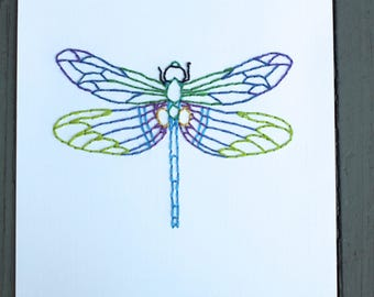 Dragonfly Hand Stitched Art