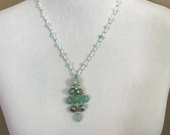 Aqua beaded pendant necklace
