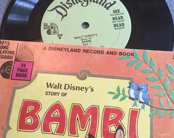 Walt Disney Bambi Book and Record , 1966 , Disneyland Record and Book , See, Hear, and Read