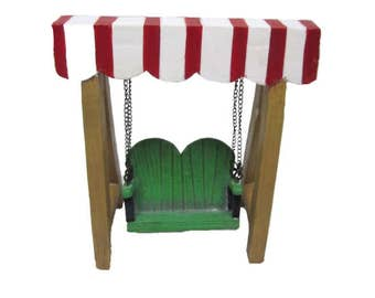 Fairy Garden Dollhouse Miniature Red & White Canopy Swing