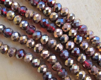 Lot of 10 beads abacus Crystal Garnet/copper color, 6 x 4 mm