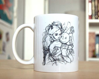 Cup type illustrated mug of a sketch of a Goth living dead girl, his stuffed Bunny against her will.