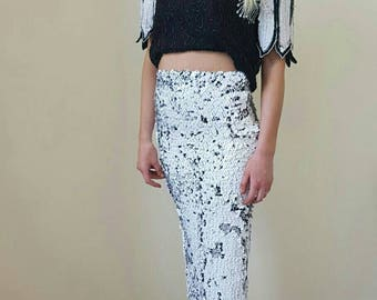 Prom dress ; black and white beaded top and black and white sequin skirt