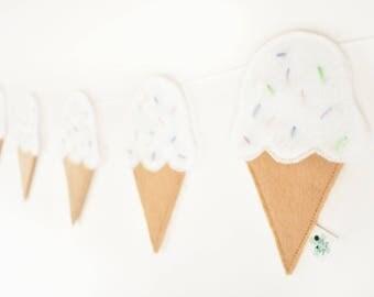 Ice Cream - Ice Cream Decor - Ice Cream Decorations - Ice Cream Party - Ice Cream Theme Party - Felt Banner - Felt Garland - Kids Room Decor