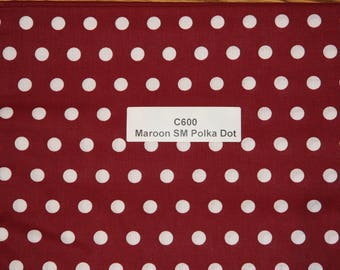 Maroon Polka dot Cotton Fabric  SHIPS FAST Polka dot Cotton fabric quilting sewing crafts clothing fabric store free shipping available C600
