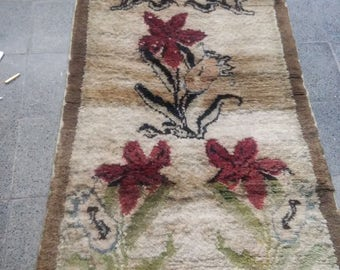 Oushak Rug,Turkish Handmade Wool Rug,Soft Rug, Vintage Tulu Rug, Floral Desing Tulu Rugs, Natural Colours, 3x6 ft,Turkish Rug, Area Rug,
