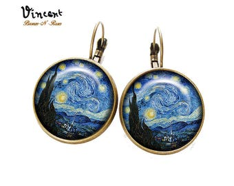 Earrings * the starry night * Vincent van Gogh sleepers glass cabochon