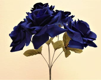 "2 Bushes DARK BLUE Jumbo Open Rose 5 Artificial Silk Flowers 14"" Bouquet 1171NBL"