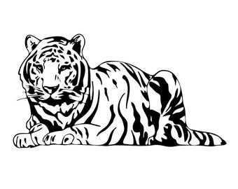 Bengal tiger Wild Cat Graphics SVG Dxf EPS Png Cdr Ai Pdf Vector Art Clipart instant download Digital Cut Print File Cricut Silhouette Decal