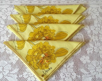 Vintage Vera Newman Yellow Cloth Napkins
