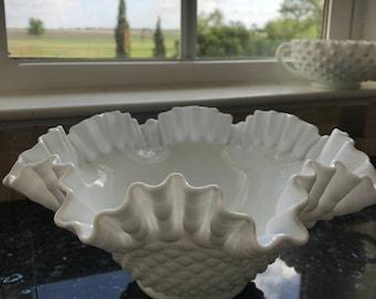 Large White Hobnail Bowl w/Ruffled Edge