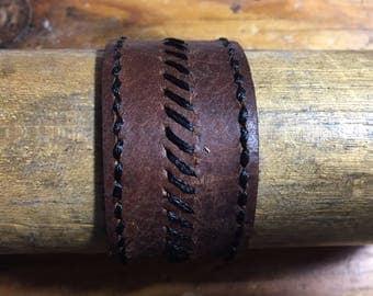 Re-Purposed Football Leather Bracelet