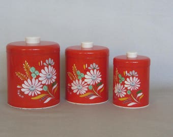 Vintage Ransburg Hand Painted Metal Canister Set