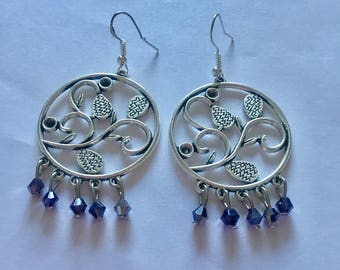 Silver Blue Chandelier Dangly Earrings with Swarovski Crystals On Sterling Silver Ear wires.
