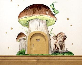 Elf door with wall decals mushroom piggy Kadam (e09)