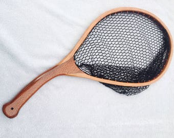 Handcrafted Curved Landing Net - Leopardwood and Cherry