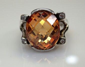 Sterling Silver Rose Cut Orange Cubic Zirconia Ring