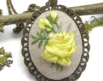 Statement necklace Embroidered homemade jewelry Ribbon embroidery pendant Yellow rose fabric necklace Birthday gift to mom