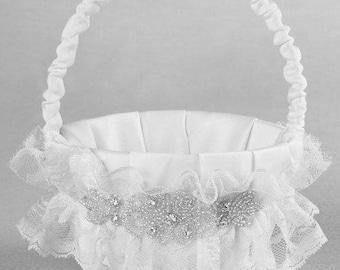 Cecilia White Flower Girl Basket