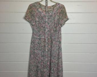 Vintage 1940s Pink & Grey Brushstroke Print Day Dress / Matching Belt / Rayon