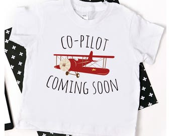 Big Brother Shirt; co pilot coming soon shirt; new baby announcement; pregnancy announcement; airplane big brother shirt; announcement shirt