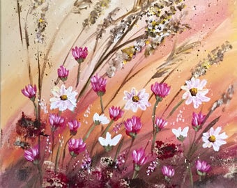 Wildflower Painting, Flower Painting, Wall Art, Fine Art, Home Decor, Nature, Gift