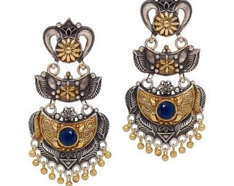 Antique Oxidized Gold Rhodium Plated Handmade Earrings for Women