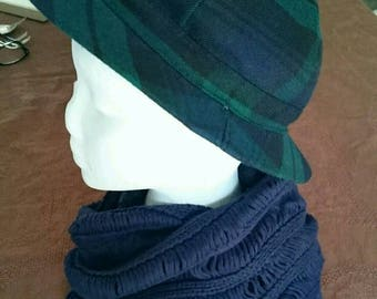 Westaway & Westaway Green Blue Plaid Striped Wool Hat