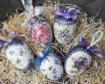 5 handmade Easter eggs as a set * decoupage, handmade, genuine unique!