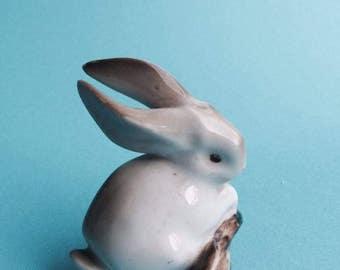 Tiny rabbit porcelain figure