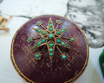 FURTHER SALE!!! Now 250 EUR (was 380) Antique Edwardian Gold Turquoise Star Brooch