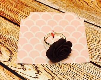 Brown Floral Adjustable Ring